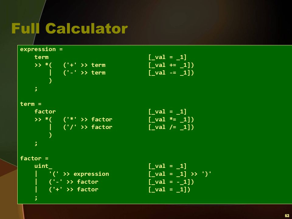 Full Calculator expression = term [_val = _1]